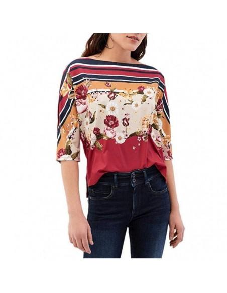 Salsa camiseta de flores y rayas